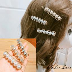 【卡樂熊】韓版金屬鏤空珍珠造型髮夾/扣夾(三色)