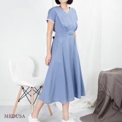 現貨【MEDUSA 曼度莎】水藍V領雙褶亞麻綁帶長洋裝