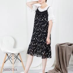 現貨【MEDUSA 曼度莎】直壓紋花小白花細肩帶背心洋裝