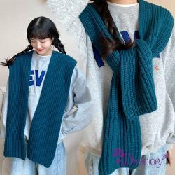 【Decoy】學院背心*針織保暖披肩式脖圍巾/藍