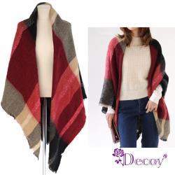 【Decoy】炫彩格紋*仿羊絨加大保暖斗篷披肩/2色可選