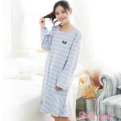 Pink Lady 繽紛糖果 居家棉柔長袖睡裙(藍)1206