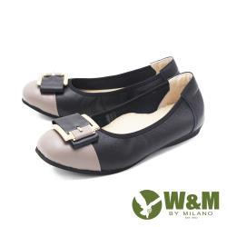 W&M(女)圓頭拼接方釦 娃娃鞋 平底鞋 女鞋 -黑(另有藍.灰)