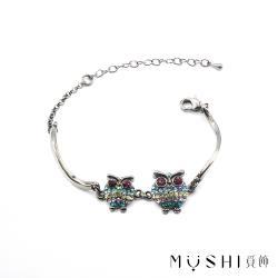 【覓飾MIISHI】施華洛世奇晶飾 五鑽貓頭鷹手鍊 (20AH002)
