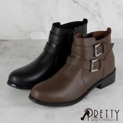 Pretty 百搭雙皮帶釦造型側拉鍊低跟短靴B-29715