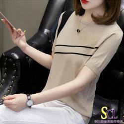 SCL 優質輕柔修身針織斜槓才女上衣