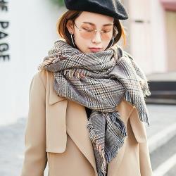 Acorn*橡果-秋冬新款格紋圍巾披肩斗篷羊絨流蘇質感1604(卡其)