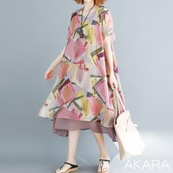 AKARA  溫柔粉嫩好氣色連身裙洋裝