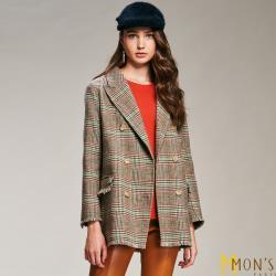 MONS 安哥拉羊毛長版西裝大衣外套