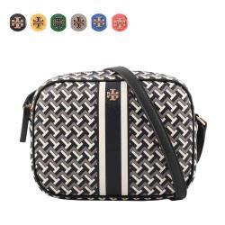 TORY BURCH PVC皮革條紋拼幾何圖案相機包 (任選) 64280
