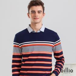 oillio歐洲貴族 男裝 長袖紳士POLO款 純棉舒適 吸濕排汗 年輕百搭假兩件式 藍色