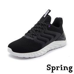 【SPRING】動感流線造型拼接透氣飛織彈力時尚運動鞋 黑白