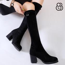 【88%】7CM粗跟長靴 百搭側面水鑽飾釦 筒高35.5CM絨面尖頭高跟長靴 膝下靴 黑靴 襪靴