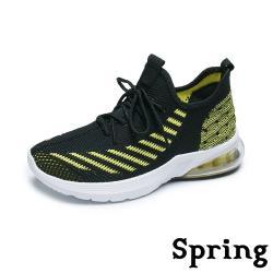 【SPRING】撞色個性線條透氣彈力飛織超大氣墊休閒運動鞋 黑綠