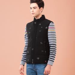 oillio歐洲貴族 男裝 修身有型保暖鋪棉背心 蜜蜂印花 防風擋片貼心設計 黑色