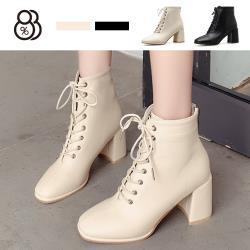【88%】7.5CM短靴 優雅氣質皮質 筒高12CM綁帶後拉鍊方頭粗跟靴