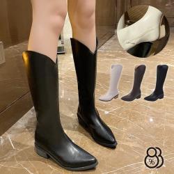 【88%】4CM長靴 率性百搭皮革內側拉鍊 筒高31CM套腳尖頭粗跟靴 西部牛仔靴