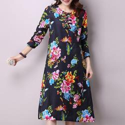 【韓國K.W.】中式棉麻復古印花洋裝-黑