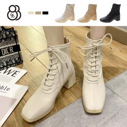 【88%】5.5CM短靴 優雅氣質皮革 筒高13CM綁帶後拉鍊方頭粗跟靴