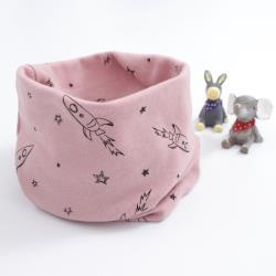 BoBo 時尚-太空火箭-兒童百搭套頭圍巾圍脖-脖套口罩帽子頭巾/薔薇粉