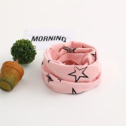 BoBo 時尚-小星星-兒童百搭套頭圍巾圍脖-脖套口罩帽子頭巾/草莓粉