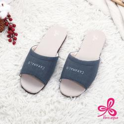 【維諾妮卡】和風素色★冰咖啡紗室內拖鞋-藍色