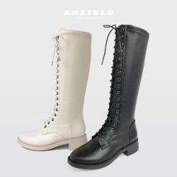 Robinlo 搖滾女孩激瘦厚底綁帶馬汀長靴NOBLE-黑/米白