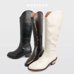Robinlo 嬉皮牛仔風 V領素面長靴 牛仔靴BLOUNT-黑/米白/棕