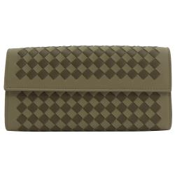 BOTTEGA VENETA 150509 編織雙色羊皮扣式長夾.褐灰
