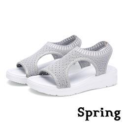 【SPRING】時尚飛織情侶款魚嘴運動風厚底涼鞋 灰