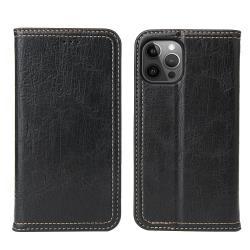 Fierre Shann 樹皮紋 iPhone 12 Pro Max (6.7吋) 錢包支架款 磁吸側掀 手工PU皮套保護殼