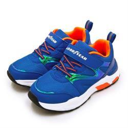【GOODYEAR 固特異】中童 19cm-23cm 輕量緩震慢跑鞋 潮趣酷炫系列(藍橘 98616)