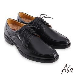 A.S.O-職場通勤勁步健康異材德比紳士鞋-黑