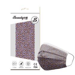 【Beauty小舖】印花3層防護口罩_豹紋(狂野紫)(10入/盒)- 符合CNS 14774國家檢驗標準