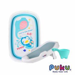 【PUKU藍色企鵝】 Elephant大象摺疊浴盆+沐浴架超值組(水色)