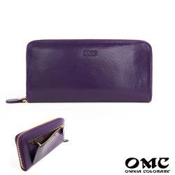 【OMC】12卡1照植鞣革單拉鍊收納牛皮長夾(紫色)