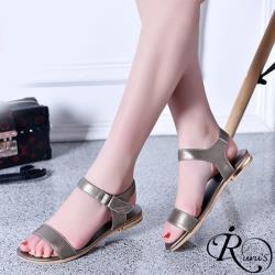 【iRurus 路絲時尚】時尚OL百搭一字扣平底涼鞋/3色/35-42碼 (RX0481-535-10A) 零碼促銷