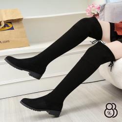 【88%】3CM長靴 簡約百搭絨面後綁帶 筒高50CM厚底膝上靴 過膝靴 黑靴