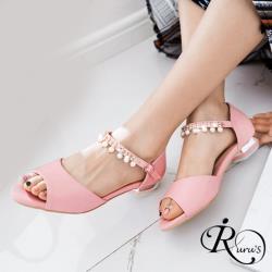 【iRurus 路絲時尚】歐美時尚百搭珍珠裝飾造型釦環低跟魚口涼鞋/3色/35-38碼 (RX0610-A7-6) 零碼促銷