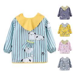 【3件入】兒童防水圍兜可拆式反穿衣餵飯罩衣防髒畫畫衣飯兜