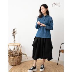 【iNio】日雜風微澎感鬆緊腰質感長裙(S-L適穿)-現貨快出【C0W2102】