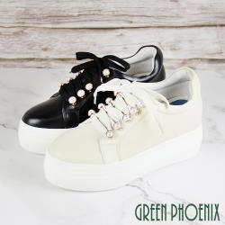 GREEN PHOENIX 國際精品奢華珍珠綁帶日本小牛皮厚底休閒鞋U28-25416