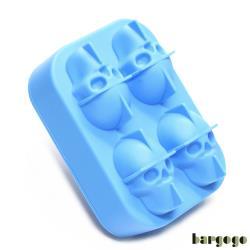 Bargogo 4格骷髏頭造型矽膠製冰盒-兩入組(可當副食品分裝盒)