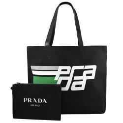 PRADA 2VG043 品牌LOGO印花肩背托特包.黑