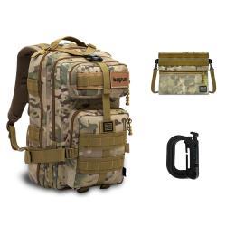 【東森限定】bagrun 二代都會玩家軍事風格瞬開後背包+補給袋+D型環掛扣(2入)組合