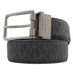 MICHAEL KORS 金屬扣環雙面雙色皮革皮帶.黑灰/黑