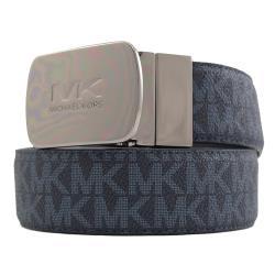 MICHAEL KORS 雙面皮革金屬方塊針扣皮帶.上將藍