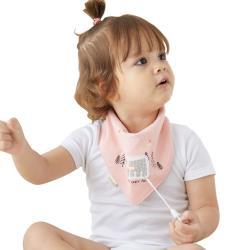 【3件入】MuslinTree嬰兒圍兜全棉按扣卡通印花口水巾圍嘴