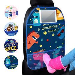 【2入】汽車椅背防水防踢墊 椅背收納袋 可放手機+平板汽座置物袋