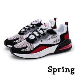 【SPRING】時尚撞色飛織反光飾條彈力氣墊個性運動鞋 黑紅